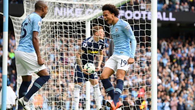 EXPLOSIVE START : Leroy Sane's early opener sets City on course for a 3-0 home win over Fulham