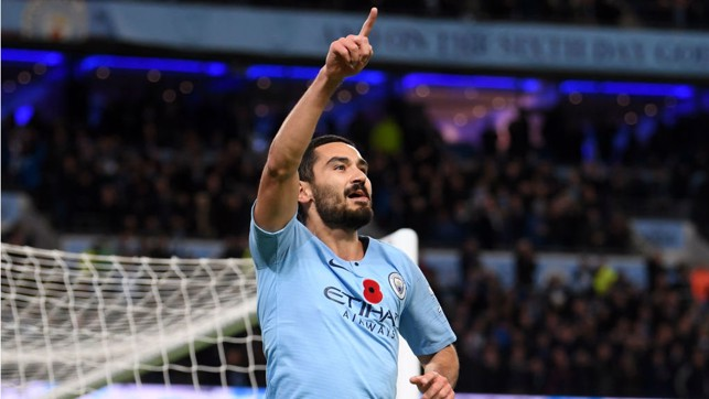 DEMOLITION DERBY : Ilkay Gundogan sealed a superb 3-1 home win over neighbours United at the Etihad Stadium