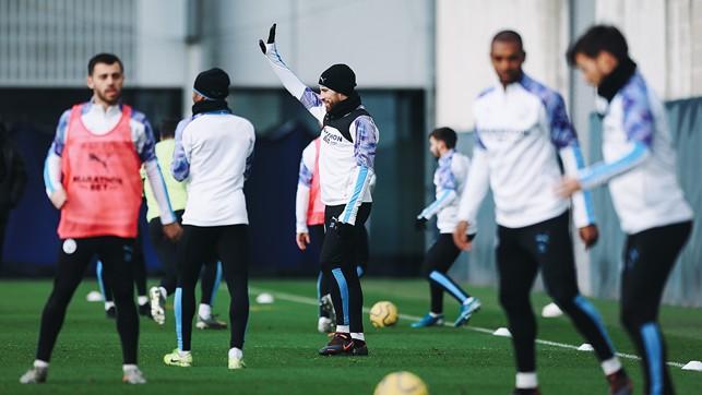 IN FOCUS : Nicolas Otamendi calls for the ball during a drill