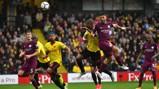 HEAD BOY: Sergio Aguero opens the scoring for City