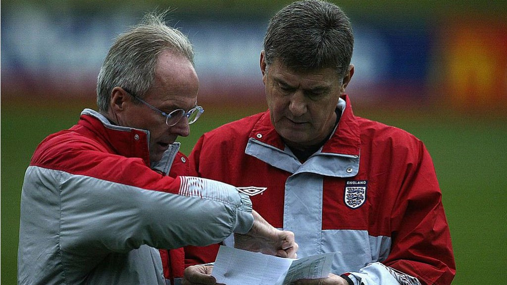 NATIONAL SERVICE: Brian talks tactics with Sven-Goran Eriksson during his time as England coach