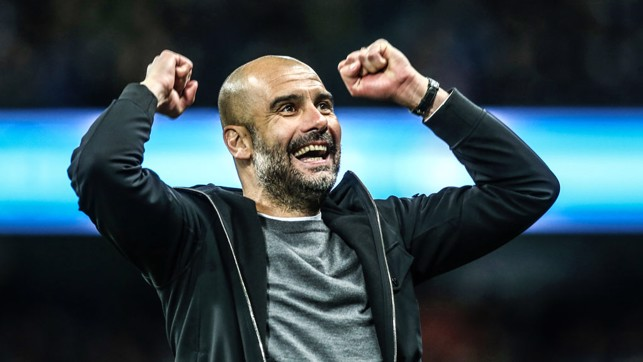 RESULT : A celebration we've seen many a time during the last three and a half years. Pep celebrating our second goal in a 5-1 win over Leicester City in February 2018. We went 16 points clear at the top of the table that day.