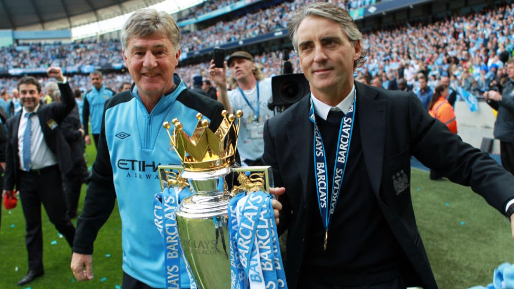 CROWN JEWELS: Brian and Roberto Mancini with the Premier League trophy after our stunning 2012 triumph