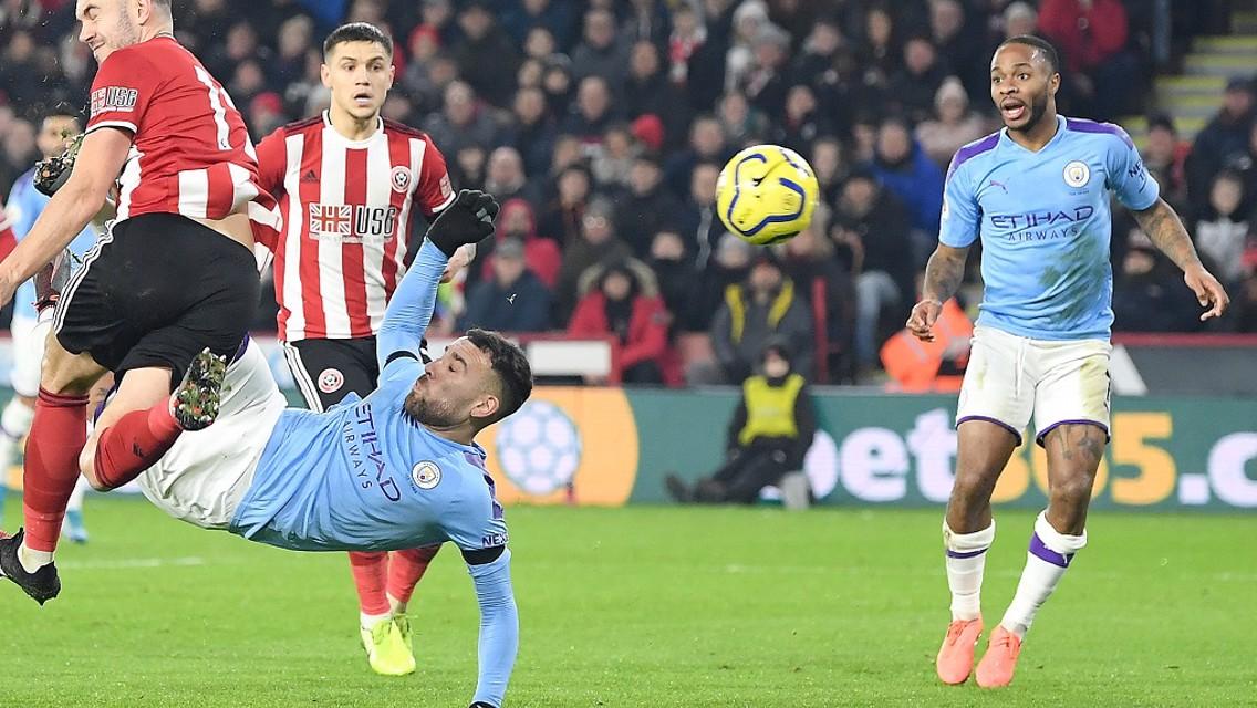 SPECTACULAR EFFORT: Nicolas Otamendi sees his overhead kick saved