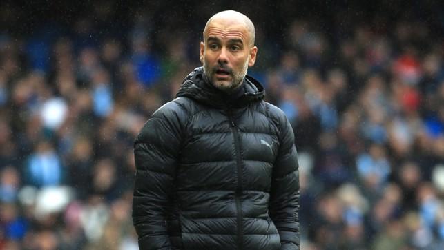 THE BOSS : Pep Guardiola surveys the scene