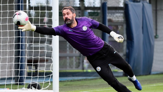 STRETCH : Scott Carson gets used to his new surroundings.