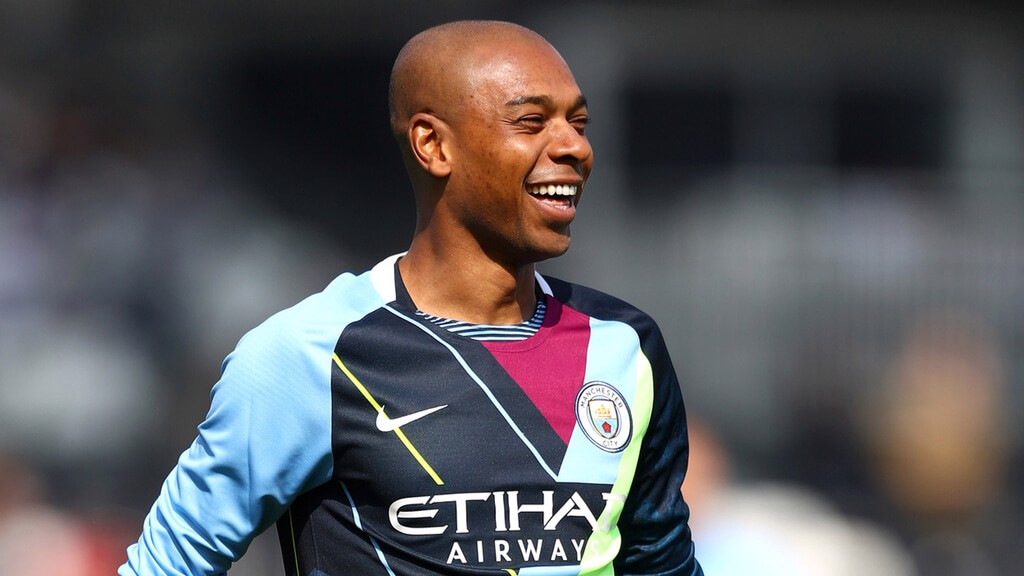 DRESSED TO THE NINES: Fernandinho dons our limited edition mashup kit in the warmup