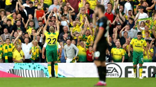 DISASTER : Pukki celebrates making it 3-1 to Norwich