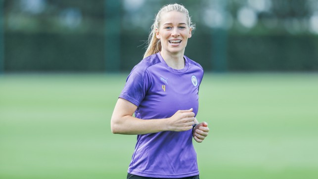 BACK IN BUSINESS : Gemma Bonner also looked delighted to be back at work