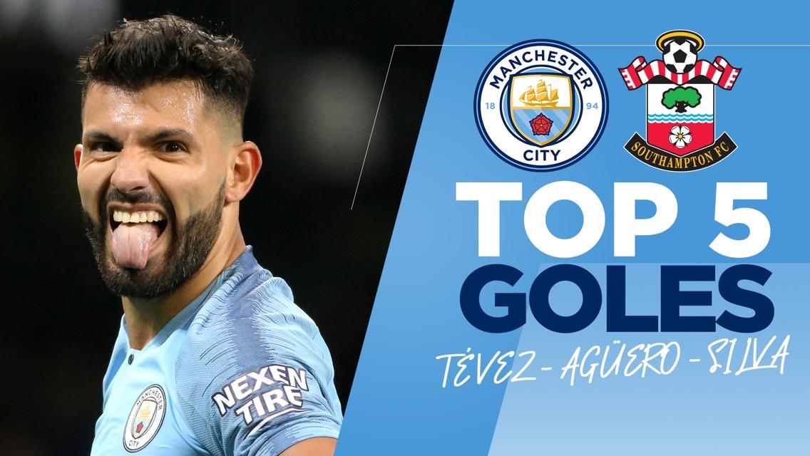 Goles al Southampton: Tévez, Agüero & Silva