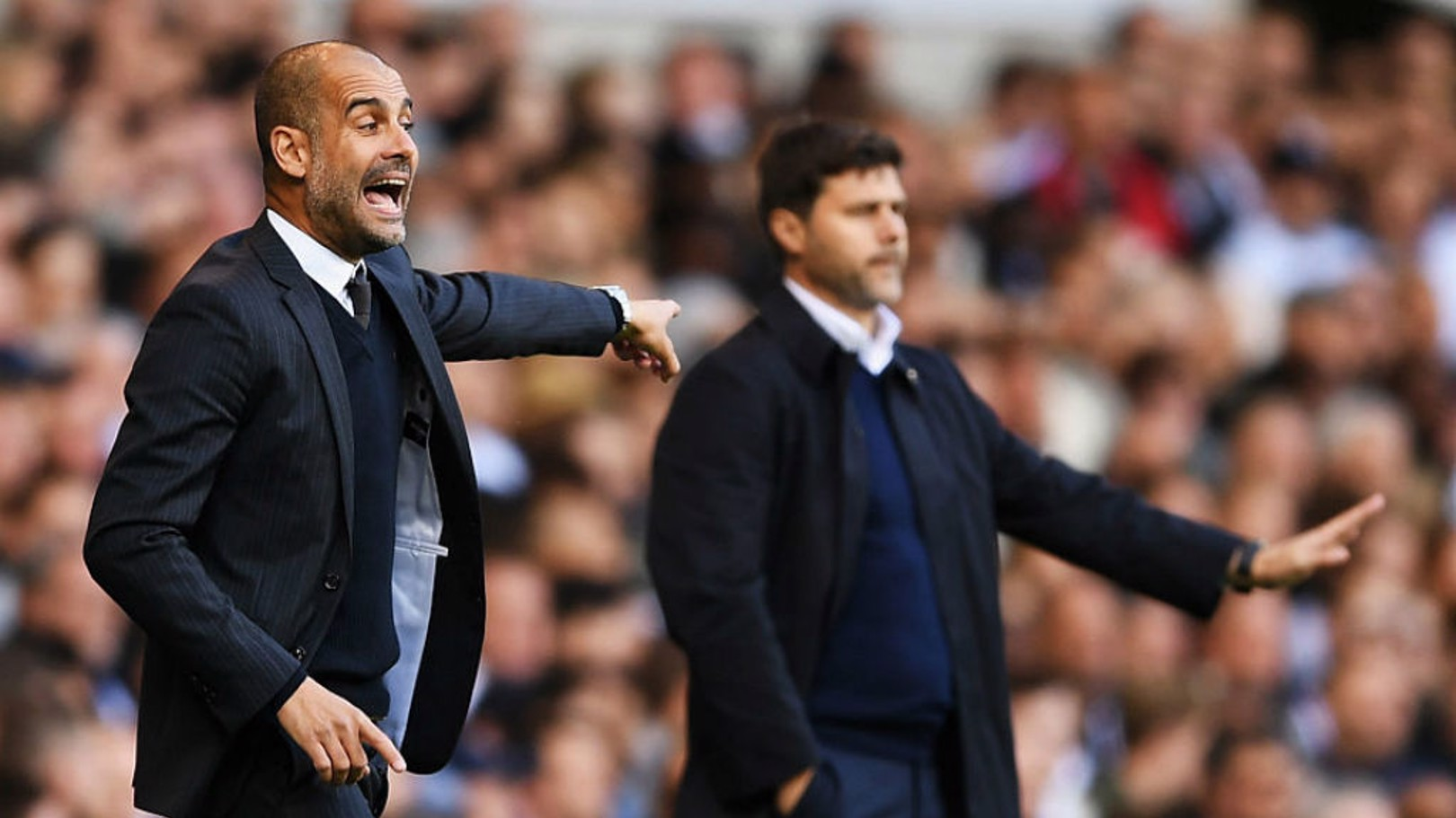 QUARTER MASTERS: Pep Guardiola and Maurico Pochettino's sides will meet in the Champions League quarter-finals