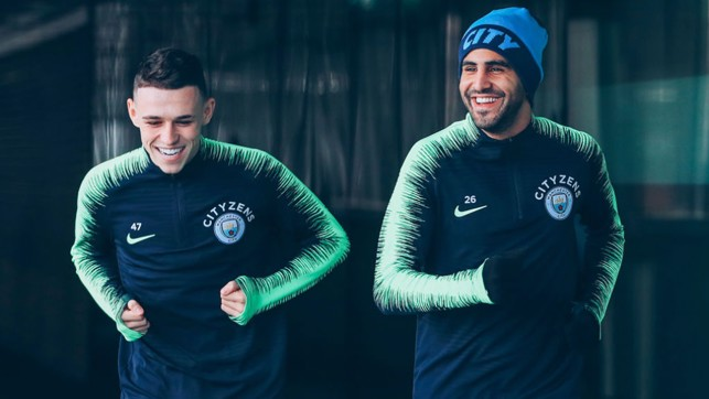 TWO'S COMPANY : Phil Foden and Riyad Mahrez get ready to rumble