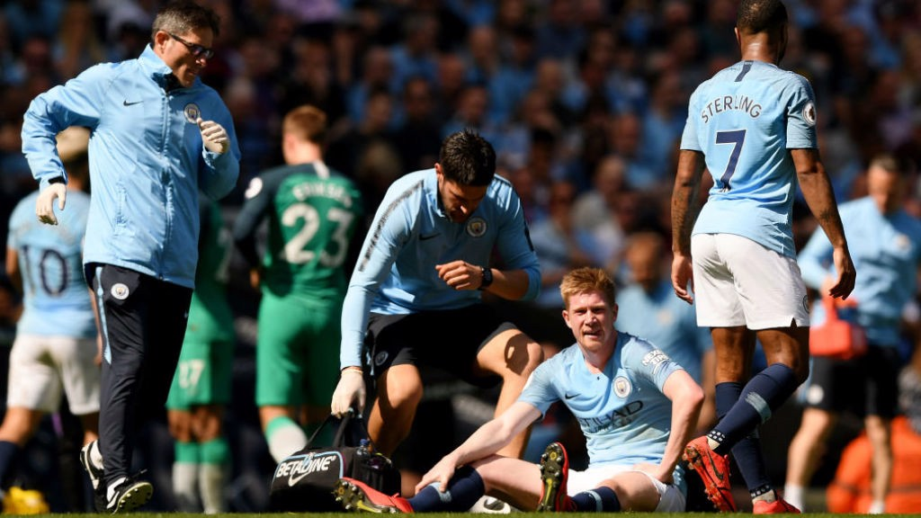 _The one blight on the first half was the sight of Kevin De Bruyne having to be substituted after a leg injury
