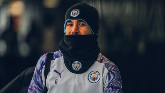 EXTRA LAYERS : Ilkay Gundogan wraps up at a chilly CFA