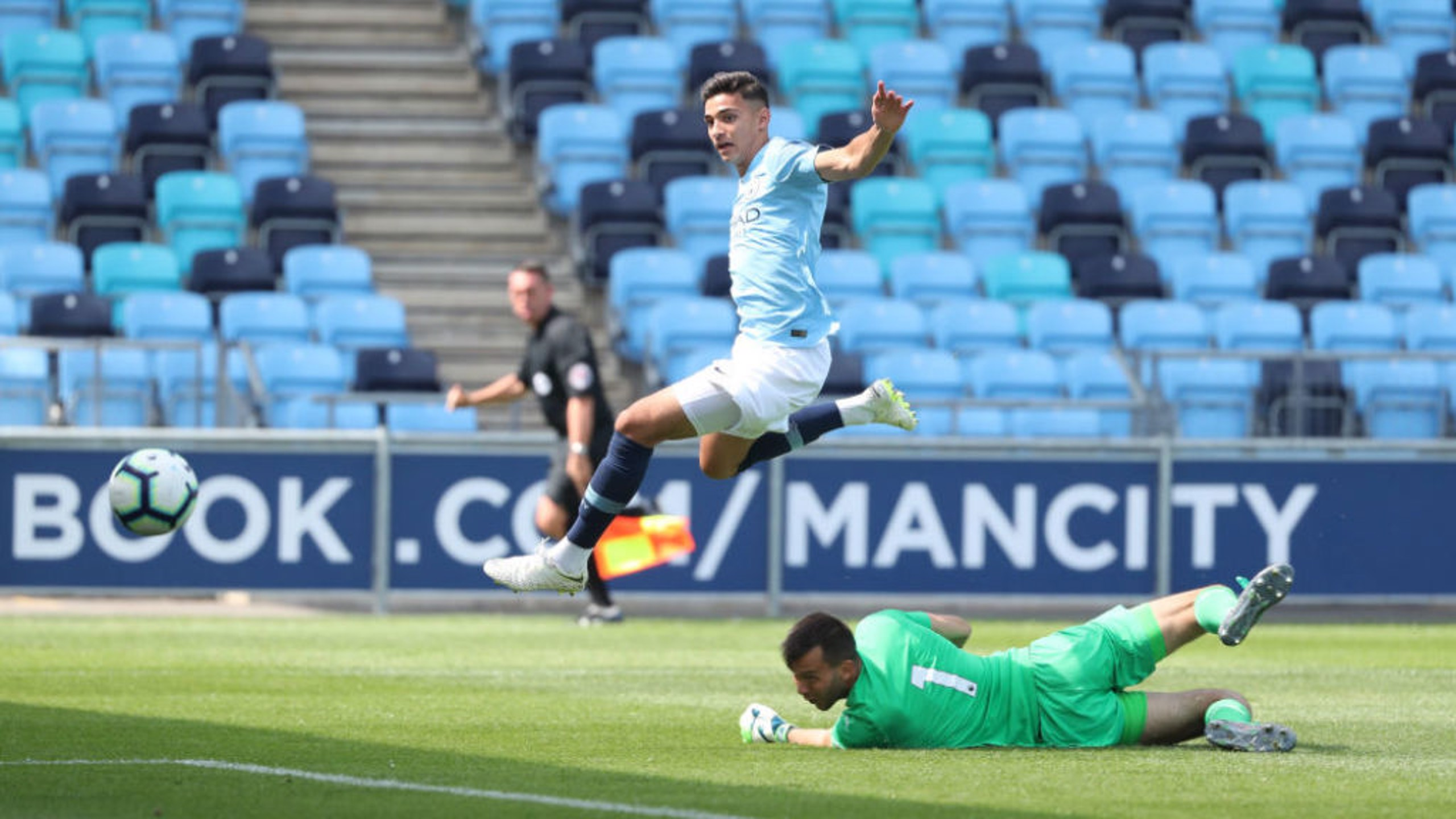 CHANCE: Nabil Touaizi came closest to breaking the deadlock for City's EDS squad but his second-half penalty was saved