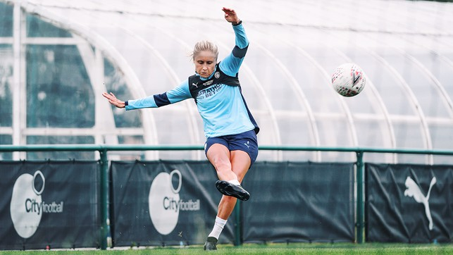 BEND IT LIKE HOUGHTON : Our free-kick specialist in action