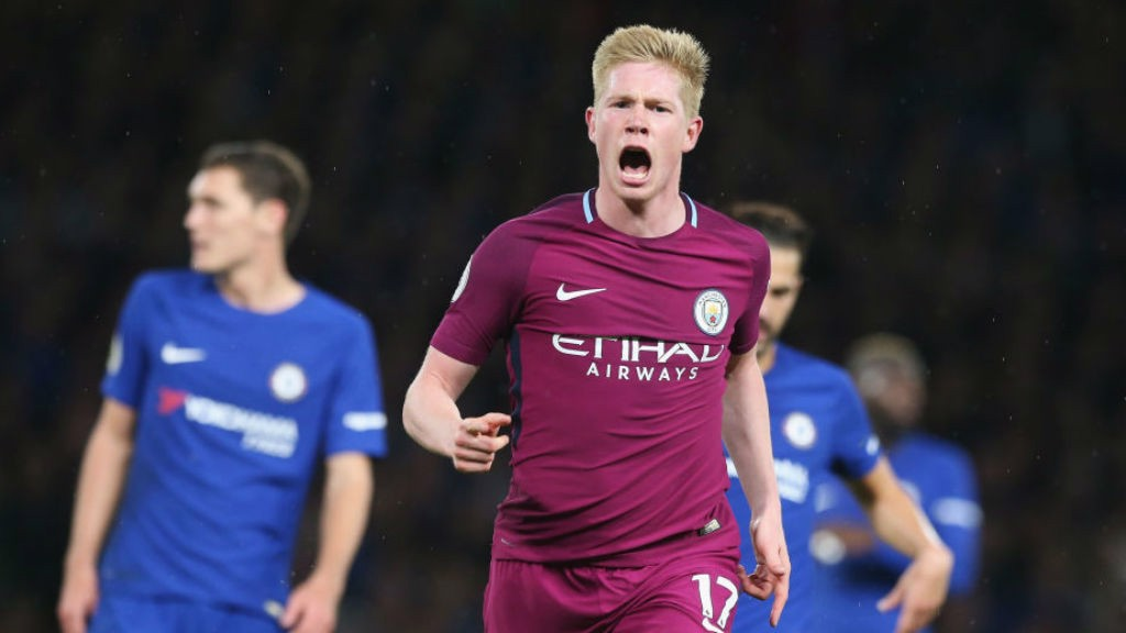 SPECIAL K : Kevin De Bruyne celebrates after his wondergoal in a crucial win at Chelsea