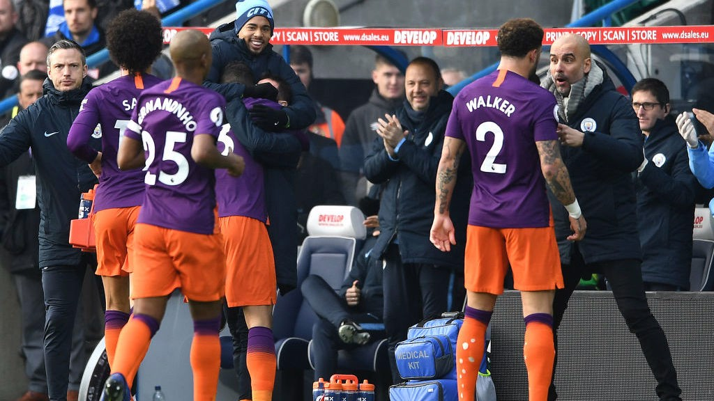 TEAM PLAYER : Danilo celebrates his goal at Huddersfield