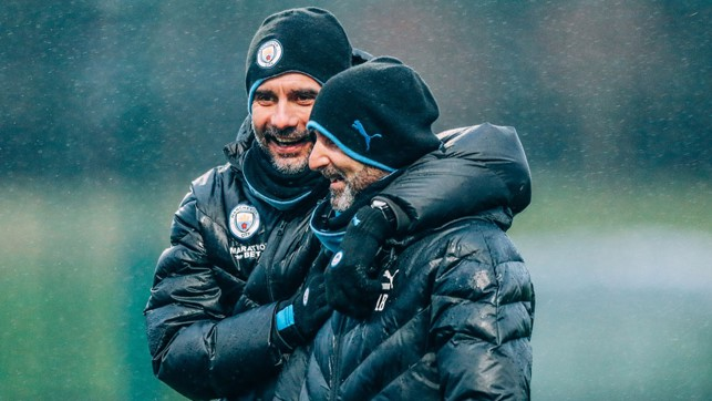 THE BOSS : Pep Guardiola shares a smile with fitness coach Lorenzo Buenaventura