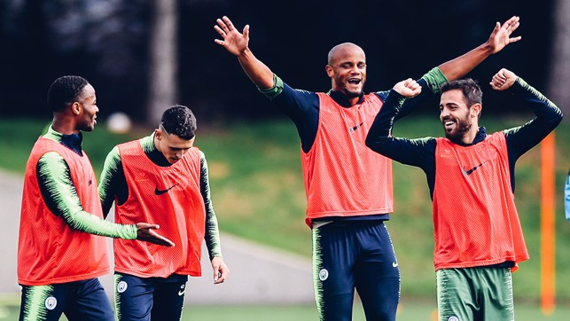 ARMS ALOFT : Bernardo and Kompany in good spirits