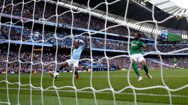 TAP IN : It's a simple finish for Raheem as he makes it 1-0 City