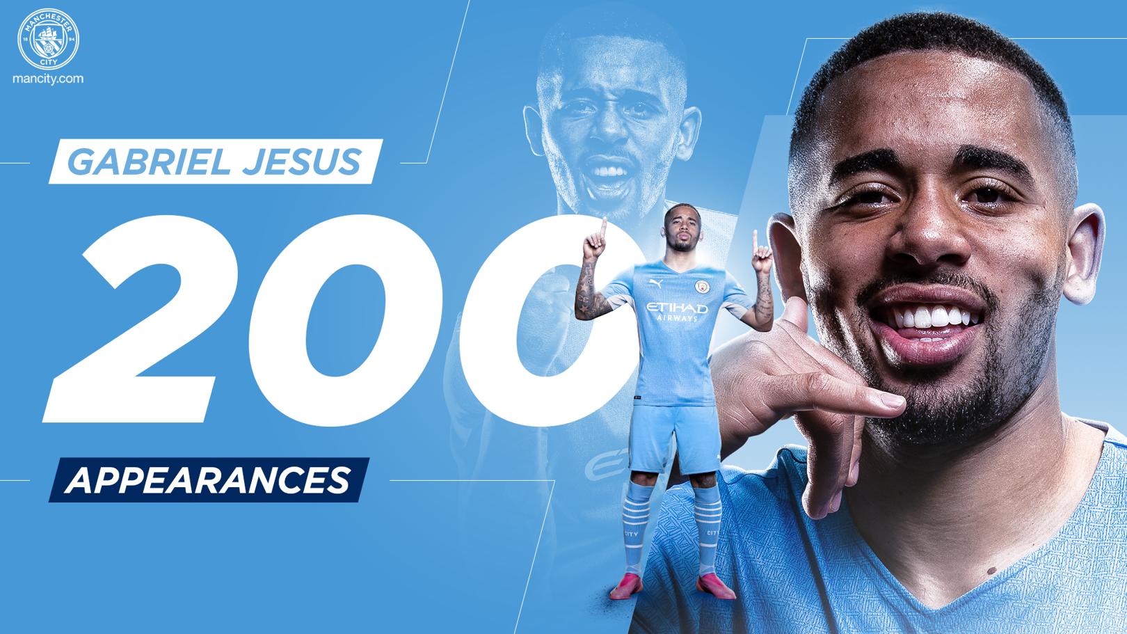 Jesus clocks up 200 appearances for City