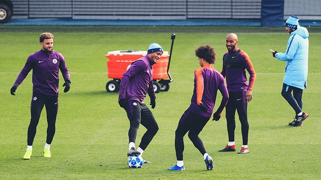 FOUR'S KOMPANY : The skipper has some fun with Leroy Sane