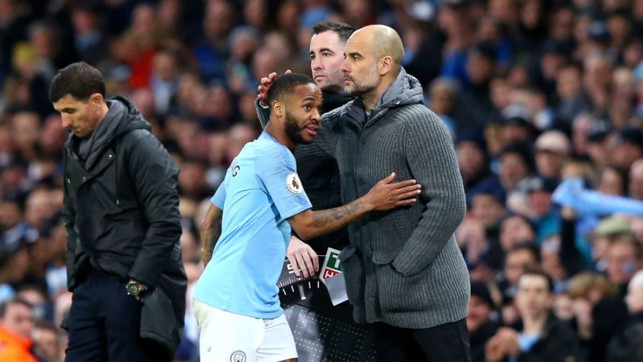 JOB DONE : Raz gets a deserved pat on the shoulder from boss Pep Guardiola