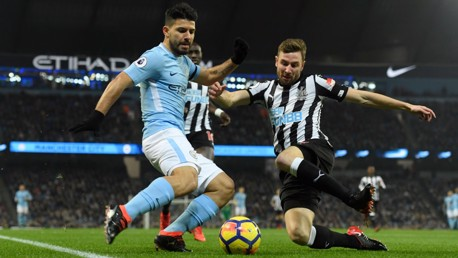 PROBING: Sergio Agüero reaches the byline during the opening exchanges.