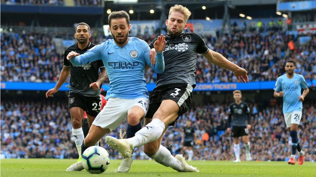 ACTION MAN : Bernardo Silva is denied by Burnley's Charlie Taylor