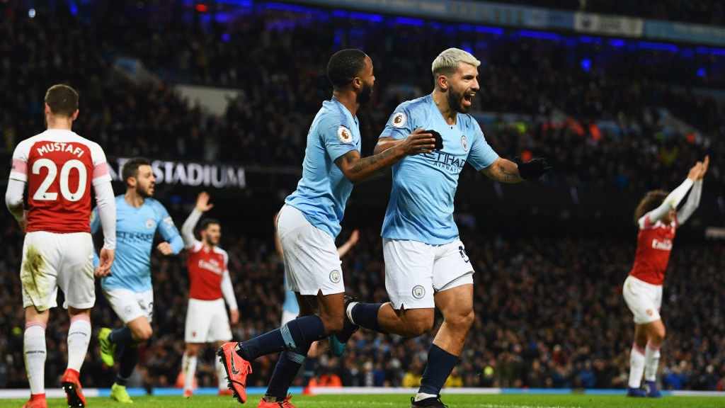 HAT-TRICK HERO : Aguero celebrates his third goal of the game.