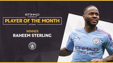 Sterling, jugador Etihad del mes
