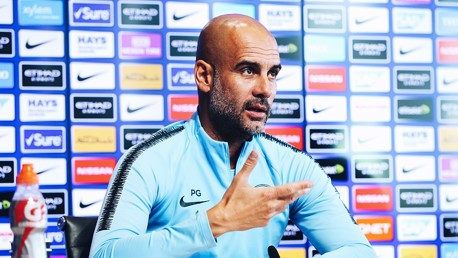 PEP TALK: The boss has addressed the media ahead of Monday's game at Tottenham