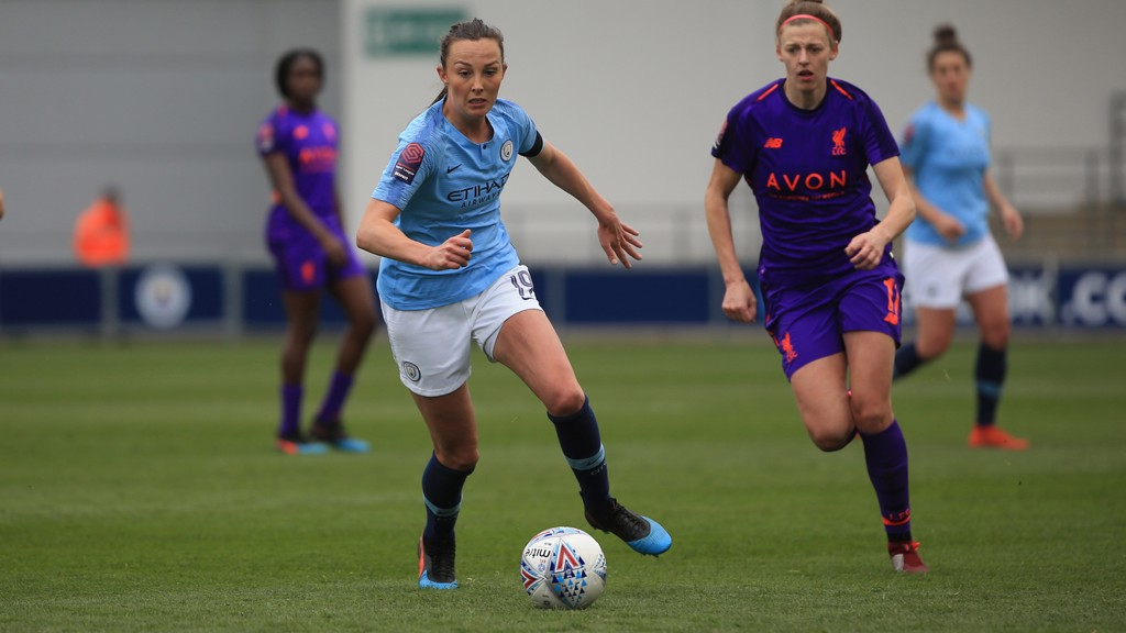 FORWARD MARCH : Caroline Weir looks to get City on the front foot against Liverpool