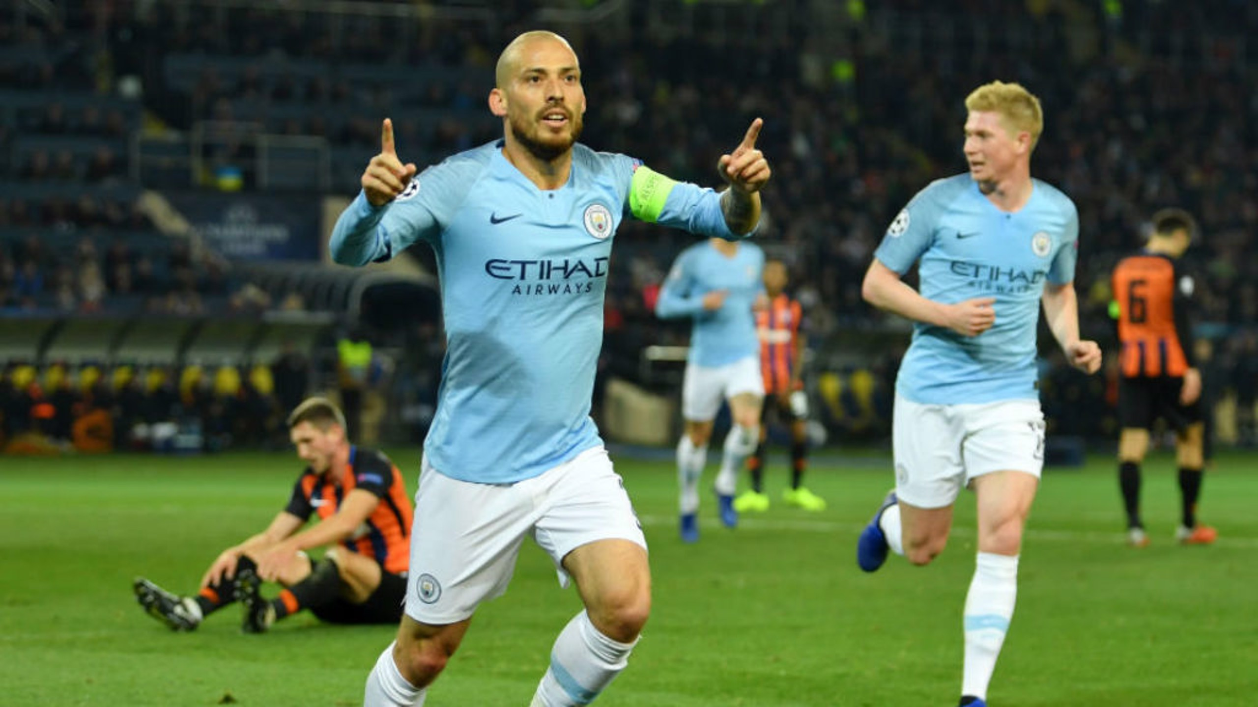 BLUE HEAVEN: David Silva sets off in celebration after his sublime opener