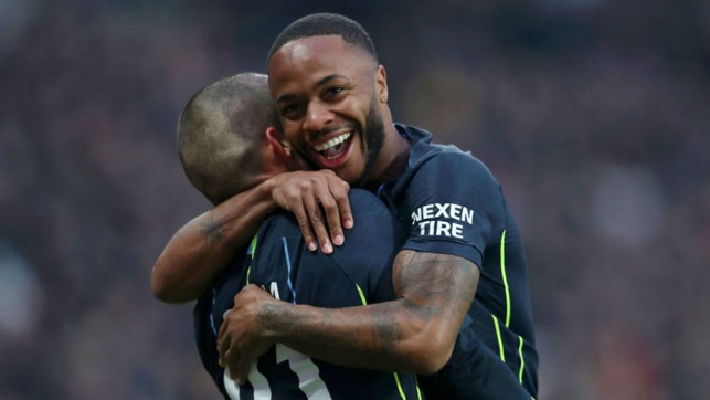 CELEBRATION TIME : For Raheem Sterling after his early strike