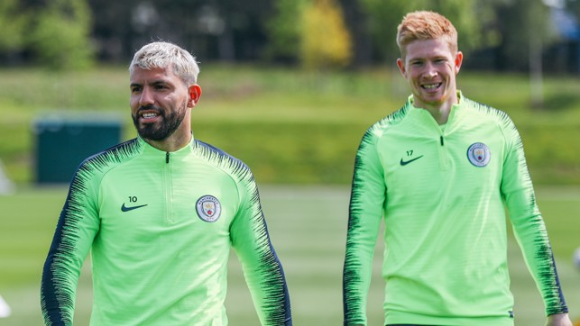 DYNAMIC DUO : Sergio Aguero and Kevin De Bruyne bask in the sunshiiiiine
