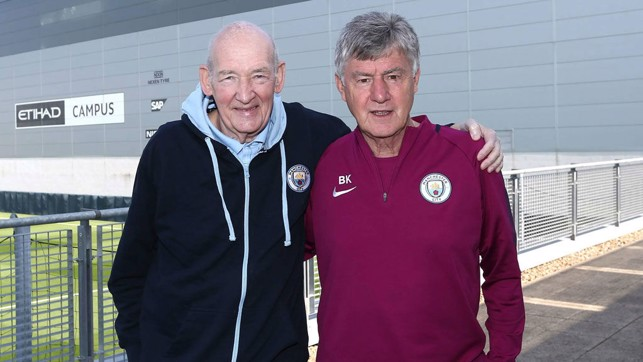 MADE IN MANCHESTER : Bernard and long-serving City assistant coach Brian Kidd - both hugely respected figures in Manchester's football family