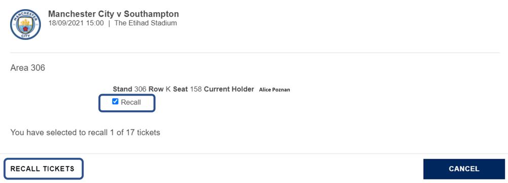 Recall ticket
