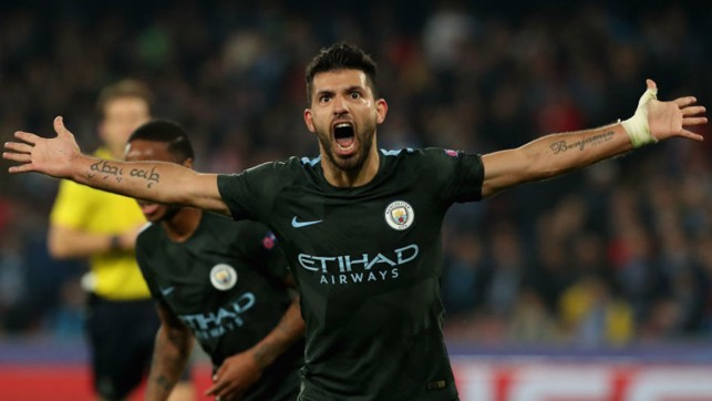 RECORD BREAKER : Kun celebrates after becoming City's all-time leading scorer having netted his 178th goal for the Club away at Napoli in November 2017