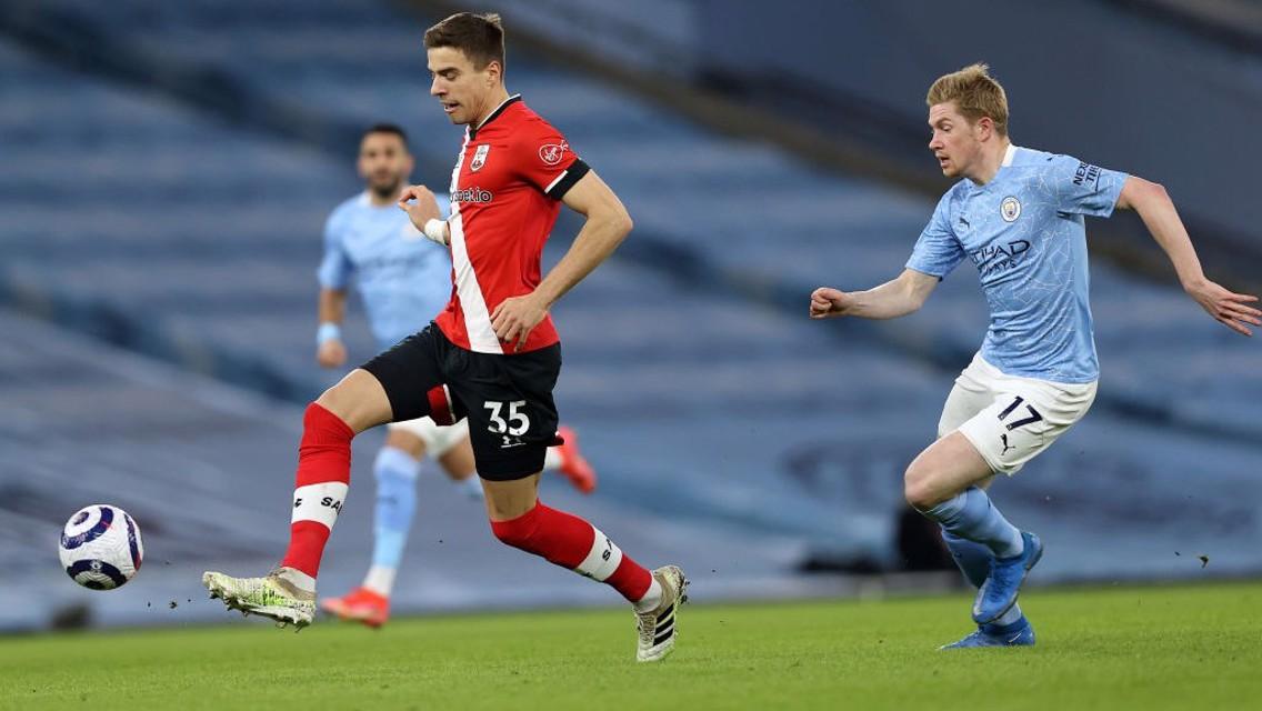 DARTING DE BRUYNE: Our midfielder hot on the heels of Jan Bednarek