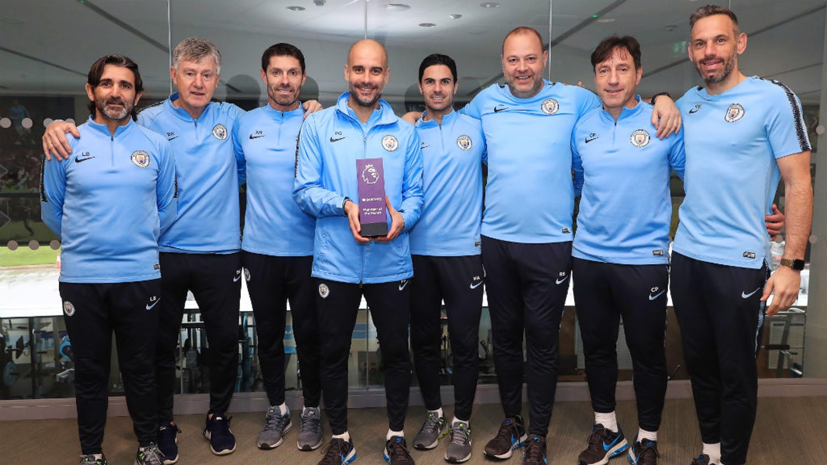 PL AWARD: Pep and his staff with the Barclay's Manager of the Month award