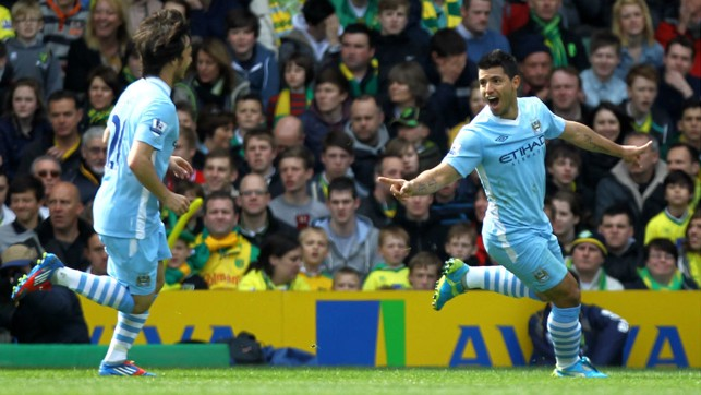 THUNDERBOLT : Sergio celebrates with David Silva after netting what was later voted the goal of the season at Norwich in 2012