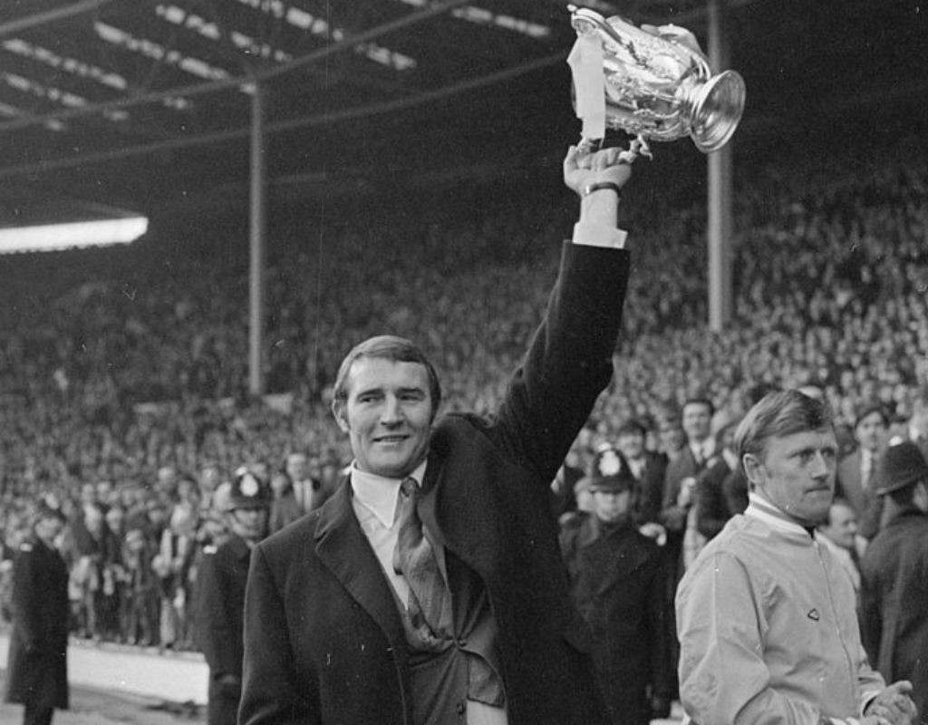 UP FOR THE CUP: Malcolm proudly holds the League Cup aloft after City's win in the 1970 final