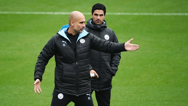 THIS WAY : Pep lends some advice...
