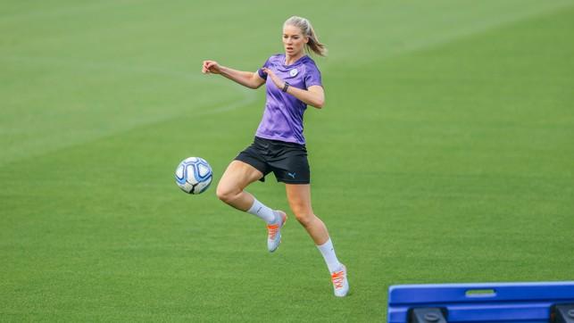 KNEES UP : Gemma Bonner also went through some skills routines
