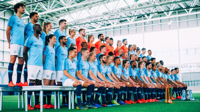 ALL TOGETHER NOW : A different angle as the teams line up...