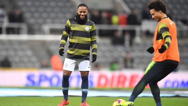 WARMING UP : Raheem Sterling and Leroy Sane prepare for the game