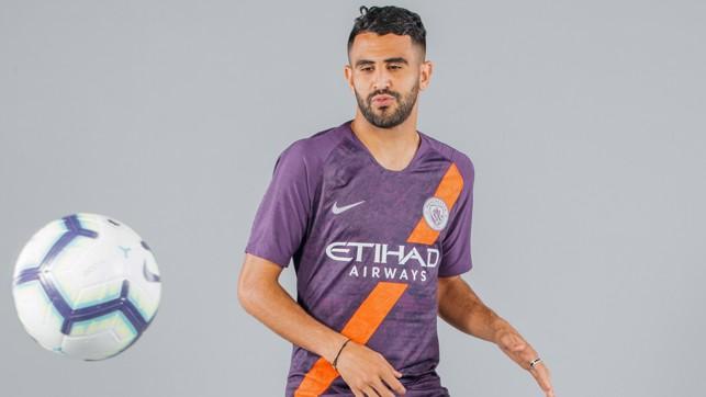 ON THE BALL : Riyad Mahrez cuts a dash in City 2018/19 third strip