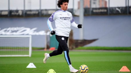 MOVING ON UP: Leroy Sane steps his recovery up with time on the training pitch.